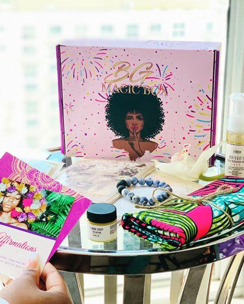 """<p>This bimonthly box has 7 to 10 premium self-care items curated by a team of holistic wellness experts. It's a magical gift for someone you love–or even just a treat for yourself.</p><p> <a class=""""link rapid-noclick-resp"""" href=""""https://www.blackgirlmagicbox.com/shop/all/"""" rel=""""nofollow noopener"""" target=""""_blank"""" data-ylk=""""slk:SHOP"""">SHOP</a></p><p><a href=""""https://www.instagram.com/p/CA_ikI3p4Ip/"""" rel=""""nofollow noopener"""" target=""""_blank"""" data-ylk=""""slk:See the original post on Instagram"""" class=""""link rapid-noclick-resp"""">See the original post on Instagram</a></p>"""