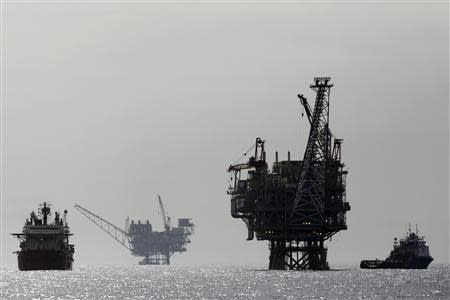 File picture of Israeli gas platforms in the Mediterranean sea, west of Ashdod