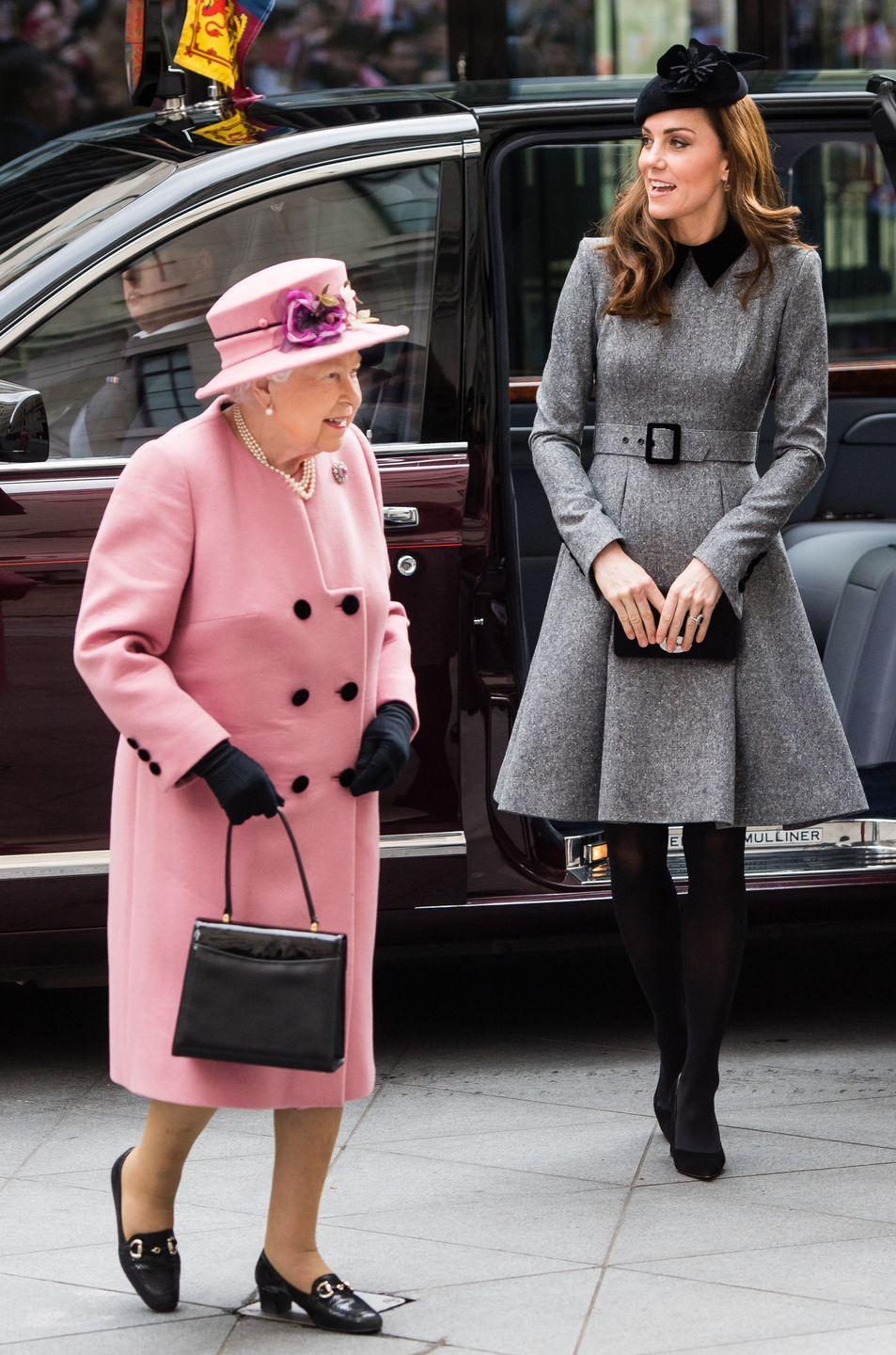 <p>The Queen may have enacted this rule more due to her preference for sitting behind the driver's seat than actual royal protocol, but nonetheless, she is the Queen. </p>