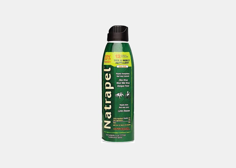 """If you know you're going to encounter a specific type of bug on a trip, """"choose a repellent that specifically mentions the type of pest you want to repel,"""" says Dr. Kikam. A more comprehensive spray that she recommends is Natrapel Eco Spray, which covers mosquitos, chiggers, gnats, and black flies for up to 12 hours. The aerosol spray also allows for easy and thorough application. $10, Amazon. <a href=""""https://amzn.to/3e2m5ux"""" rel=""""nofollow noopener"""" target=""""_blank"""" data-ylk=""""slk:Get it now!"""" class=""""link rapid-noclick-resp"""">Get it now!</a>"""