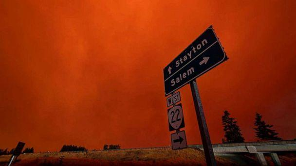 PHOTO: Red sky and thick smoke are seen in Salem City, Oregon, U.S., in this picture obtained from social media. (Zak Stone/ZAK STONE via Reuters)