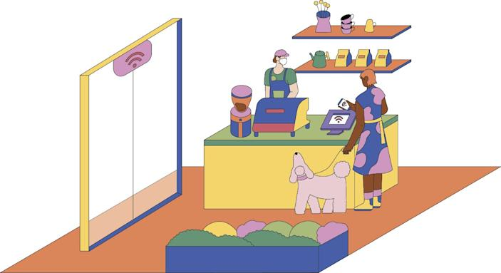 """COFFEESHOP: Illustration by Jiaqi Wang for Sunday Calendar May 31, 2020 article by Carolina Miranda on L.A. architects and the new era of COVID-19 architecture. <span class=""""copyright"""">(Jiaqi Wang / The Times)</span>"""