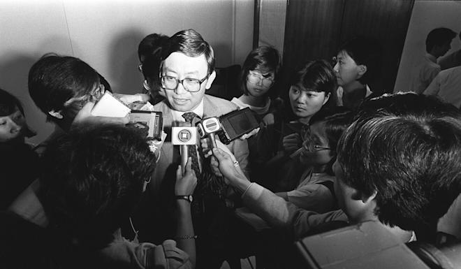 Lee is surrounded by journalists during his time as a lawmaker. Photo: SCMP