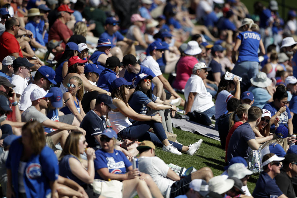 Fans watch from grass beyond the outfield as the Chicago Cubs play the Milwaukee Brewers in a spring training baseball game Saturday, Feb. 29, 2020, in Mesa, Ariz. (AP Photo/Gregory Bull)