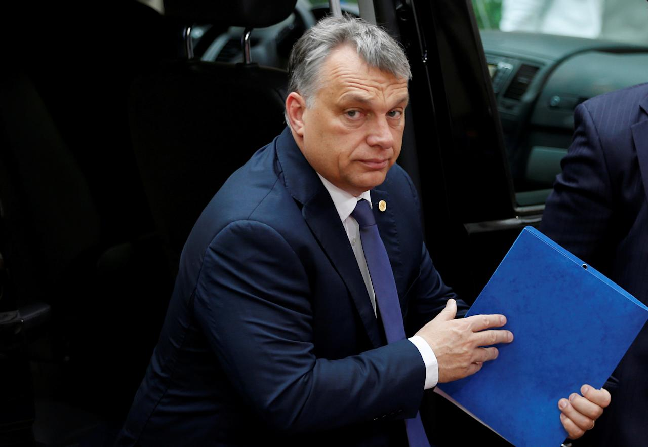 FILE PHOTO: Hungary's Prime Minister Viktor Orban arrives on the second day of the EU Summit in Brussels, Belgium, June 29, 2016.   REUTERS/Francois Lenoir/File photo