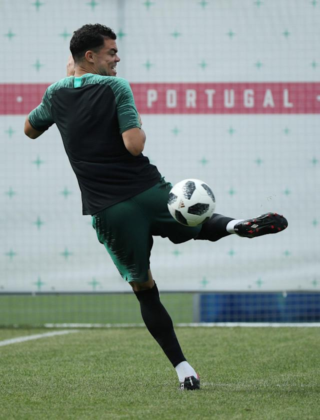 Soccer Football - World Cup - Portugal Training - Portugal Training Camp, Moscow, Russia - June 19, 2018 Portugal's Pepe during training REUTERS/Albert Gea