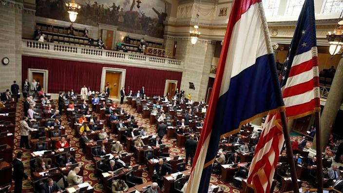 Members of the Missouri House of Representatives work on the final day of the legislative session Friday, May 13, 2016, at the Capitol in Jefferson City, Mo. (AP Photo/Jeff Roberson)