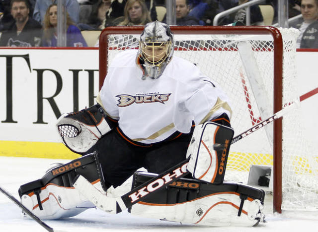 PITTSBURGH, PA - FEBRUARY 15: Jonas Hiller #1 of the Anaheim Ducks makes a save against the Pittsburgh Penguins during the game at Consol Energy Center on February 15, 2012 in Pittsburgh, Pennsylvania. The Ducks defeated the Penguins 2-1. (Photo by Justin K. Aller/Getty Images)
