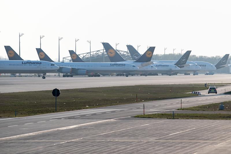 07 April 2020, Bavaria, Munich: Numerous parked Lufthansa aircraft stand on the airport apron. During the Corona crisis, Lufthansa is cutting back its fleet. At least 42 jets of the core company Lufthansa and Eurowings are to be permanently decommissioned, the company announced in Frankfurt on Tuesday. Photo: Matthias Balk/dpa (Photo by Matthias Balk/picture alliance via Getty Images)
