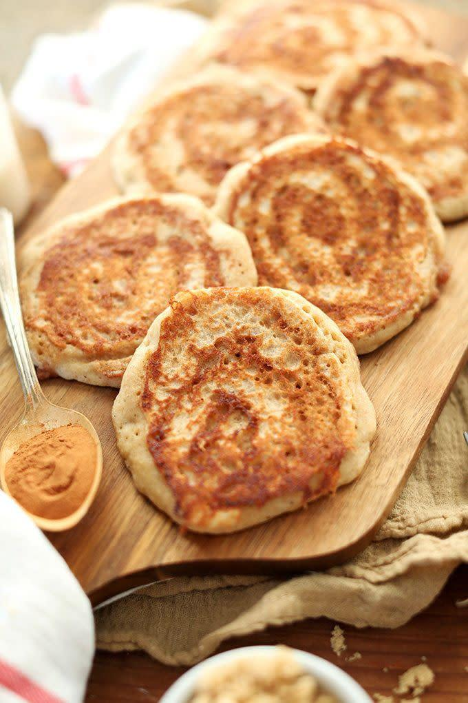 "<strong>Get the <a href=""http://minimalistbaker.com/vegan-cinnamon-roll-pancakes/"" rel=""nofollow noopener"" target=""_blank"" data-ylk=""slk:Cinnamon Roll Pancakes recipe"" class=""link rapid-noclick-resp"">Cinnamon Roll Pancakes recipe</a> from Minimalist Baker</strong>"
