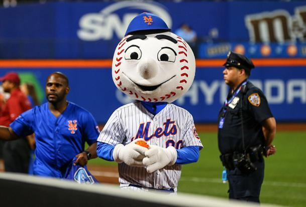With the Mets season going off the rails Mr. Met is going rogue. (Getty Images)