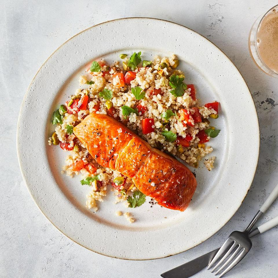 <p>This zesty quinoa salad is delicious all on its own, with some serious Mediterranean flair. Make a double batch for lunches later in the week.</p>