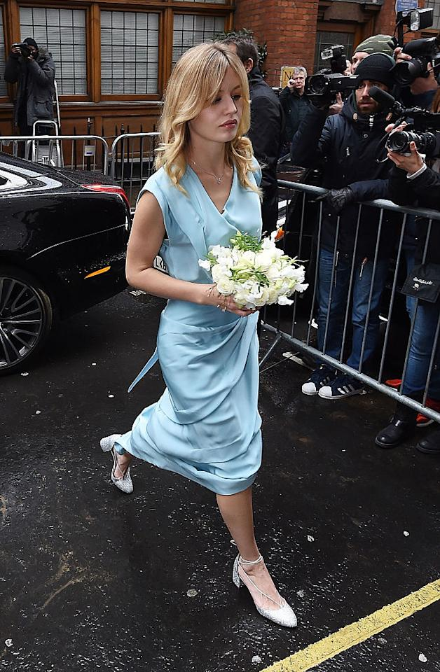 <p>Georgia May Jagger was asked to be bridesmaid at her mother Jerry Hall's wedding to Rupert Murdoch in March, 2016. The model donned a sky blue dress with a cream bouquet. <em>[Photo: Getty]</em> </p>