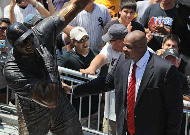 CHICAGO, IL - JULY 31: Former player Frank Thomas of the Chicago White Sox looks at his statue during a ceremony before a game between the White Sox and the Boston Red Sox at U.S. Cellular Field on July 31, 2011 in Chicago, Illinois. (Photo by Jonathan Daniel/Getty Images)