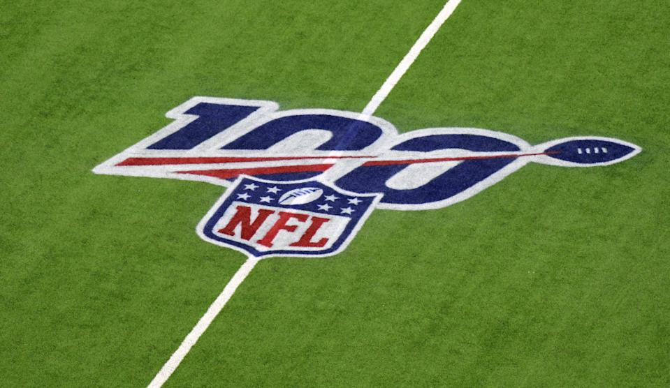 Nov 21, 2019; Houston, TX, USA; NFL 100th anniversary logo is seen on the field before a game between the Indianapolis Colts and Houston Texans at NRG Stadium. Mandatory Credit: Kirby Lee-USA TODAY Sports