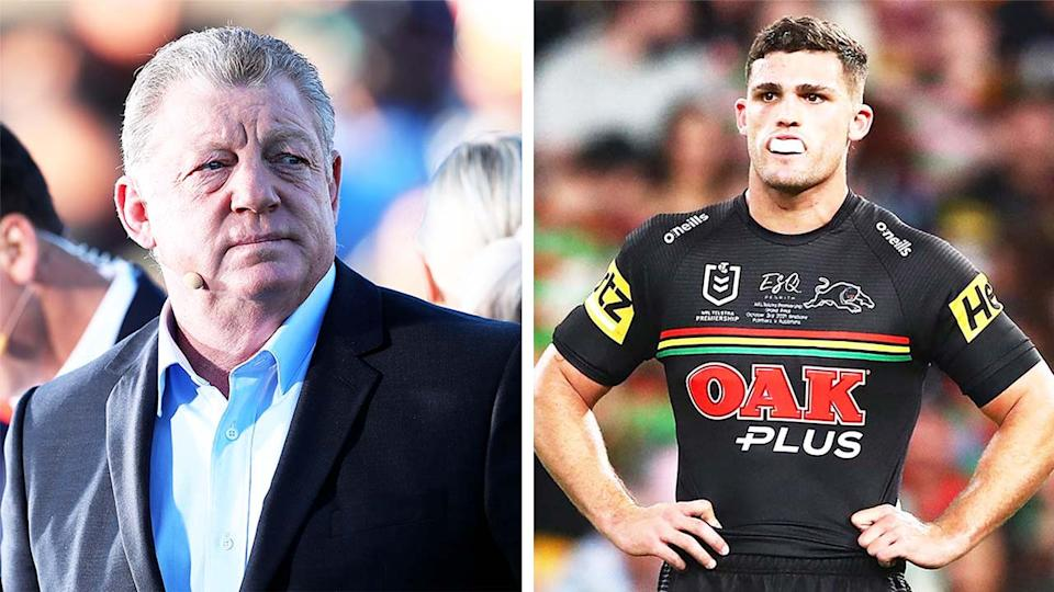 Channel Nine commentator Phil Gould (pictured left) before commentary and (pictured right) Nathan Cleary n the grand final.