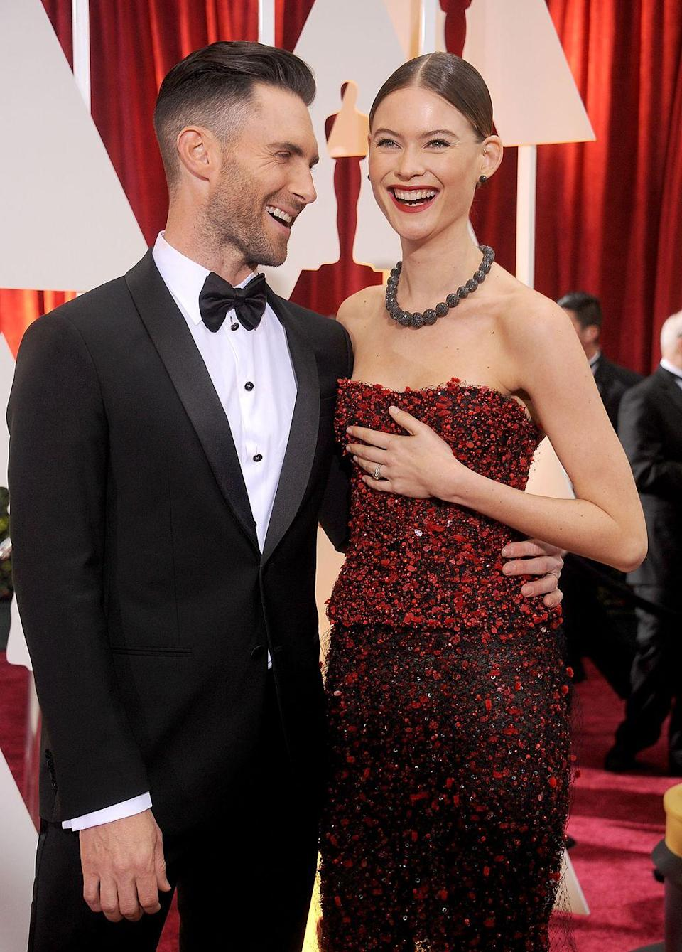 <p><strong>Age gap: </strong>10 years </p><p>Maroon 5 frontman, Adam Levine, 40, and his Victoria's Secret model wife, Behati Prinsloo, 31, have been married since 2014 and welcomed two daughters, Dusty Rose and Gio Grace, in 2016 and 2018. </p>