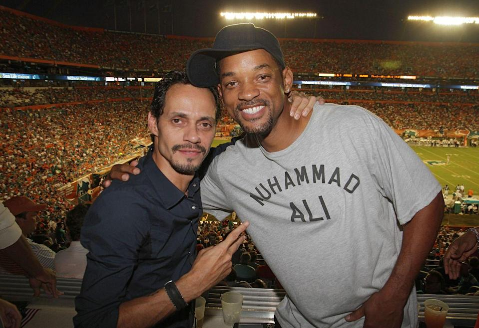 <p>Marc Anthony and Will Smith attend birthday celebration for Marc Anthony during the Miami Dolphins vs New England Patriots Monday Night Football game on September 12, 2011 in Miami Gardens, Florida.</p>