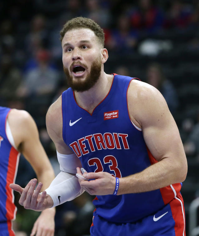 Detroit Pistons forward Blake Griffin (23) reacts after being whistled for a foul during the fourth quarter of an NBA basketball game against the Charlotte Hornets, Sunday, April 7, 2019, in Detroit.(AP Photo/Duane Burleson)