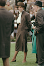 <p>Whoever says brown isn't chic clearly hasn't seen Diana's tailored getup for the Sandown Park races.</p>