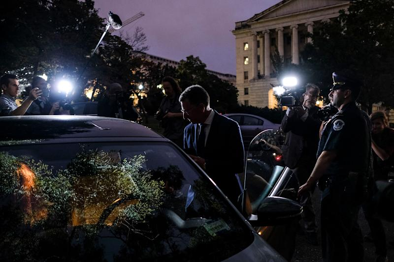 Kurt Volker, former U.S. envoy to Ukraine, leaves the Capitol after delivering hours of testimony to the House intelligence committees in Washington, D.C., Oct. 3, 2019. | Gabriella Demczuk for TIME