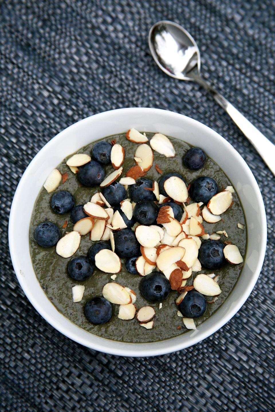 """<p>Make a bowl of smoatmeal! It's one part smoothie and one part oatmeal, which equals all parts awesome. </p> <p><strong>Calories:</strong> 369<br> <strong>Protein:</strong> 18.2 grams</p> <p><strong>Get the recipe:</strong> <a href=""""https://www.popsugar.com/fitness/Best-Winter-Breakfast-Weight-Loss-39032882"""" class=""""link rapid-noclick-resp"""" rel=""""nofollow noopener"""" target=""""_blank"""" data-ylk=""""slk:smoatmeal"""">smoatmeal</a></p>"""