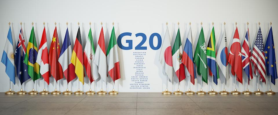 G20 summit or meeting concept. Row from flags of members of G20 Group of Twenty and list of countries, 3d illustration