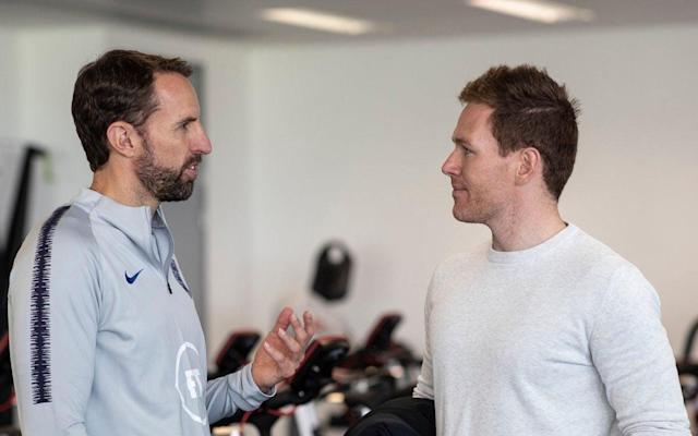 England football coach Gareth Southgate picks the brains of Cricket World Cup-winning captain Eoin Morgan - Twitter
