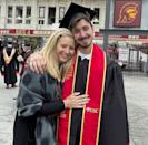 """<p>The <em>Friends </em>star <a href=""""https://people.com/parents/lisa-kudrow-son-julian-graduates-university-southern-california/"""" rel=""""nofollow noopener"""" target=""""_blank"""" data-ylk=""""slk:celebrated her 23-year-old son Julian graduating"""" class=""""link rapid-noclick-resp"""">celebrated her 23-year-old son Julian graduating</a> from the University of Southern California, marking his big day with a celebratory Instagram post. </p> <p>""""Happy proud HAPPY. And a little crying. By me not him.. <a href=""""https://www.instagram.com/juls_magewls/"""" rel=""""nofollow noopener"""" target=""""_blank"""" data-ylk=""""slk:@juls_magewls"""" class=""""link rapid-noclick-resp"""">@juls_magewls</a>,"""" Kudrow <a href=""""https://www.instagram.com/p/CO8lObenRCr/"""" rel=""""nofollow noopener"""" target=""""_blank"""" data-ylk=""""slk:captioned her post."""" class=""""link rapid-noclick-resp"""">captioned her post.</a></p>"""