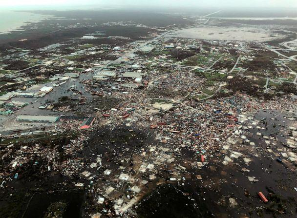 PHOTO: An aerial view shows devastation after Hurricane Dorian pummeled the Abaco Islands in the Bahamas, Sept. 3, 2019, in this image obtained via social media. (Michelle Cove/Trans Island Airways via Reuters)