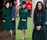 <p>This emerald Catherine Walker coat with velvet cuffs and a matching collar has been seen multiple times on Duchess Kate: at two events on March 17, 2017 and at the Armistice Day ceremony in November 2018. </p>