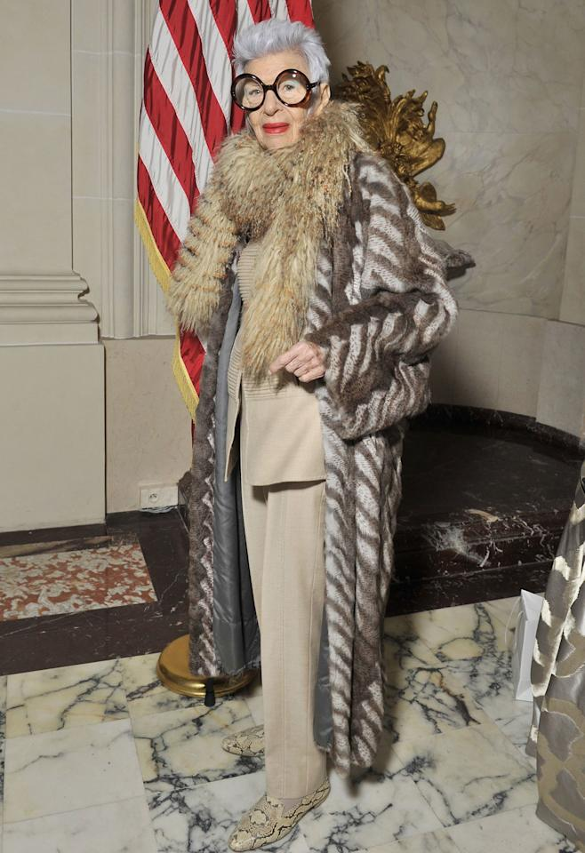 """The fashion icon and businesswoman just landed her first-ever modeling contract at age 97, signing with IMG, which will represent her for modeling, appearances and endorsements! Apfel has become known for her avant-garde style, which has landed her collections with HSN, collaborations with Le Bon Marché and Berdorf Goodman and several ad campaigns with Kate Spade, MAC Cosmetics, Alexis Bittar to name a few. """"I'm very excited,"""" Apfel told WWD of her new representation. """"I never had a proper agent."""""""