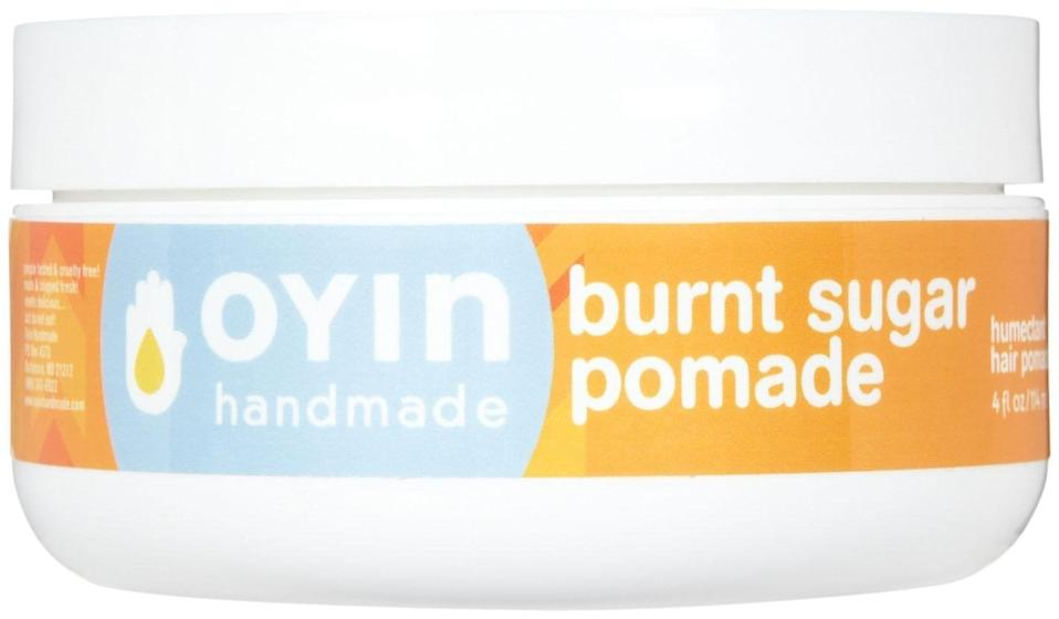 """<h3>Oyin Handmade Burnt Sugar All-Veggie Pomade</h3><br><strong>Kim</strong><br><br>""""No joke, this smells like freshly baked cookies. My hair <em>loves</em> the stuff and has actually thrived as a result of using it.""""<br><br><strong>Oyin</strong> Burnt Sugar All-Veggie Pomade, $, available at <a href=""""https://amzn.to/2UTB1BD"""" rel=""""nofollow noopener"""" target=""""_blank"""" data-ylk=""""slk:Amazon"""" class=""""link rapid-noclick-resp"""">Amazon</a>"""