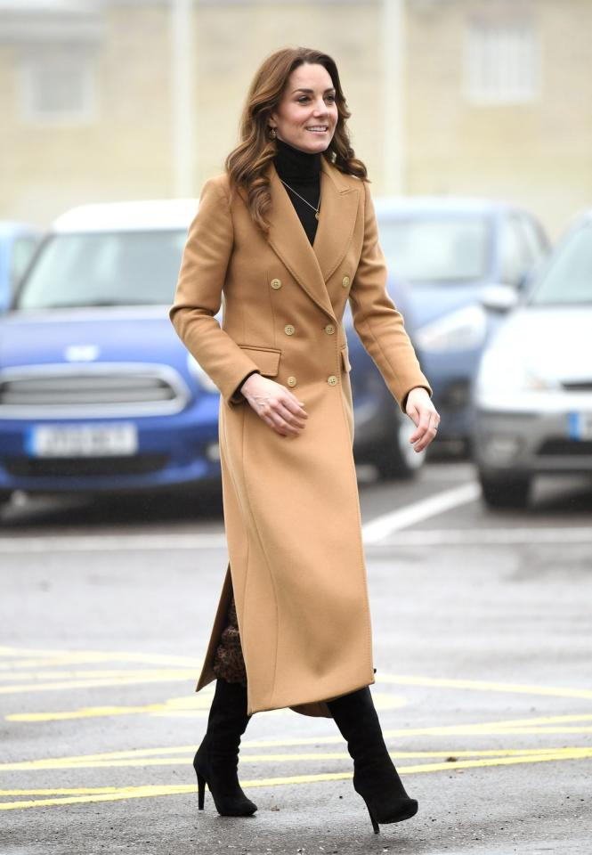 <p>Kate wore a camel coat with a pair of subtle-yet-show stopping boots to visit a women's facility in England. Lookin' sleek as ever, Duchess of Cambridge! </p>