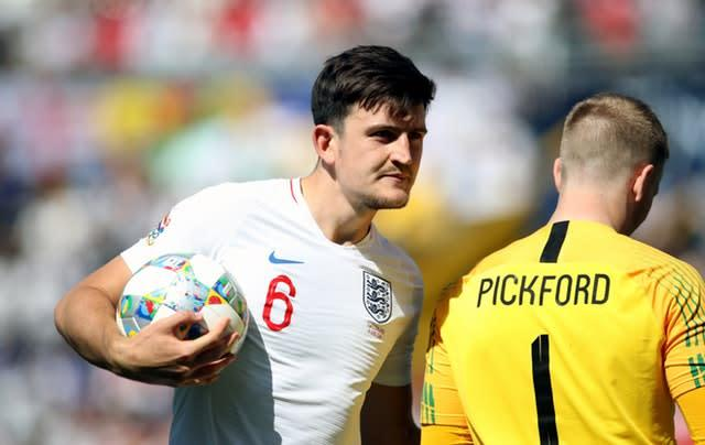 Harry Maguire stepped up first for England (Tim Goode/PA)