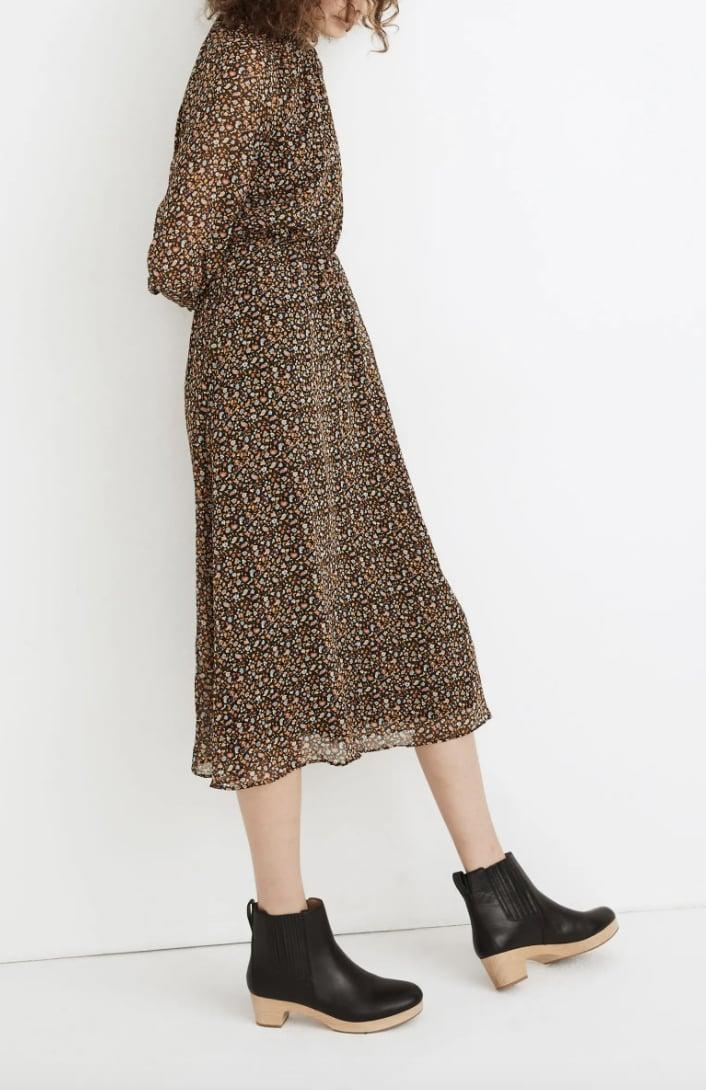 <p>This <span>Madewell Folktale Paisley Long Sleeve (Re)sourced Georgette Midi Dress</span> ($63, originally $128) features an elastic waist and sheer shelves for a comfortable and sweet look.</p>