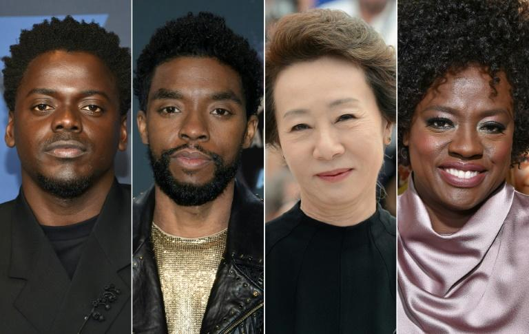 It is possible that all four acting Oscar winners could be people of color: among the frontrunners are (L-R) Daniel Kaluuya, the late Chadwick Boseman, Youn Yuh-jung and Viola Davis