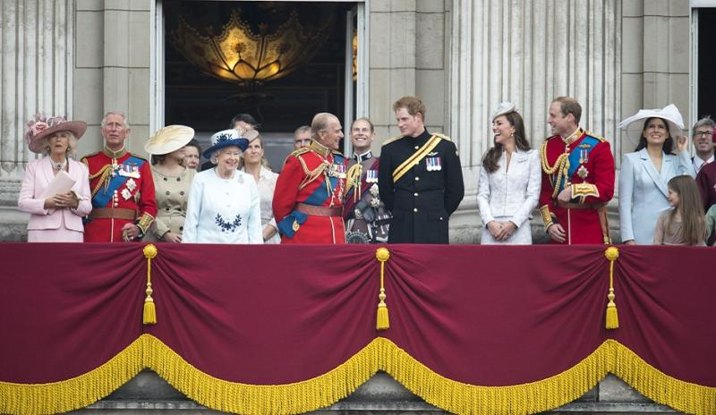 Prince Harry with Prince William, Kate Middleton and royal family