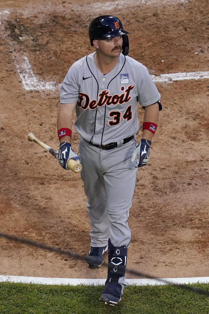 Detroit Tigers' Jake Rogers walks to the dugout after striking out swinging during the second inning of the team's baseball game against the Chicago White Sox in Chicago, Thursday, June 3, 2021. (AP Photo/Nam Y. Huh)