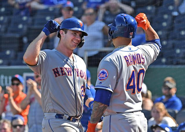 "<a class=""link rapid-noclick-resp"" href=""/mlb/teams/ny-mets/"" data-ylk=""slk:Mets"">Mets</a> first baseman <a class=""link rapid-noclick-resp"" href=""/mlb/players/10918/"" data-ylk=""slk:Pete Alonso"">Pete Alonso</a> (20) celebrates with designated hitter <a class=""link rapid-noclick-resp"" href=""/mlb/players/8620/"" data-ylk=""slk:Wilson Ramos"">Wilson Ramos</a> (40) after hitting his 40th home run of the season on Sunday in Kansas City. (USA Today)"
