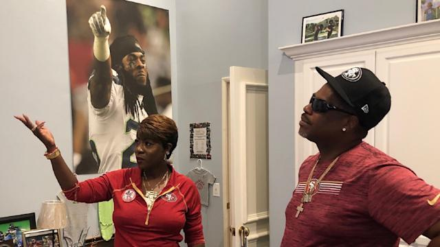 Richard Sherman's parents, Kevin and Beverly, show off their son's room in their Yorba Linda, Calif., home