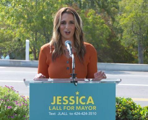 Downtown business leader Jessica Lall announcing that she will run for mayor of Los Angeles.