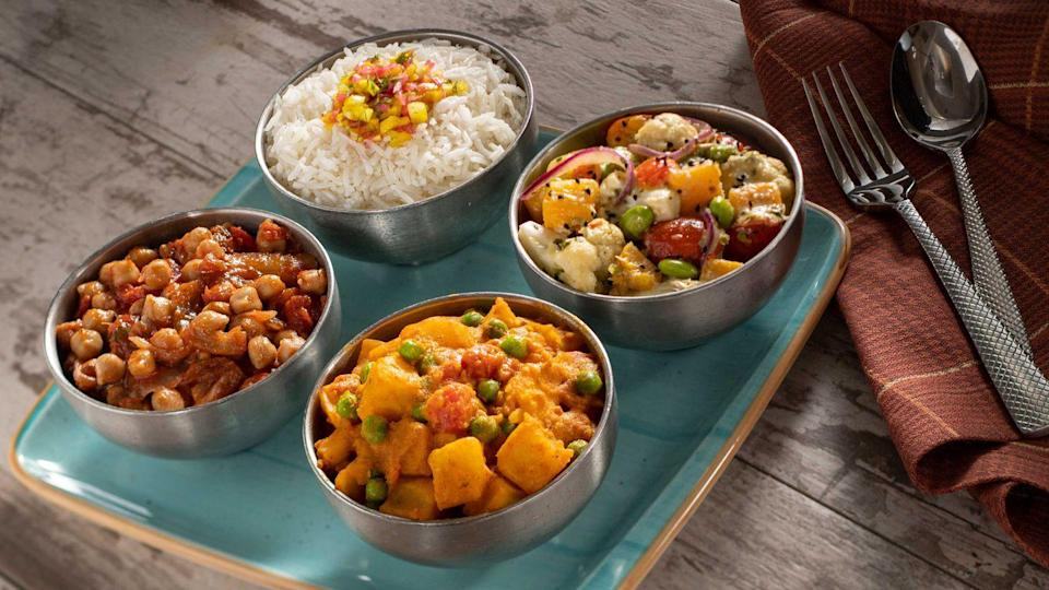 <p>There are plenty of meatless options at Sanaa in Animal Kingdom with their Potjie-Inspired Harvest menu. With dishes like Aloo Masala, Cilantro-Coconut Vegetables and Chickpea Wat alongside Basmati Rice, everyone is bound to find something tasty to eat! </p>