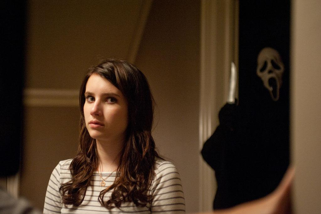 """<a href=""""http://movies.yahoo.com/movie/contributor/1804508466"""">Emma Roberts</a>  She plays plays Jill Roberts, cousin of Sidney (Neve Campbell). Her most unforgettable scene? """"Hayden and I had to be at a window and we were screaming,"""" she recalled. """"The two of us just lost it and we were screaming and like grabbing each other."""""""