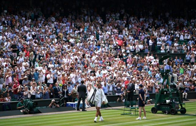 Centre Court and Court One will have full capacity from the quarter-finals onwards on Tuesday
