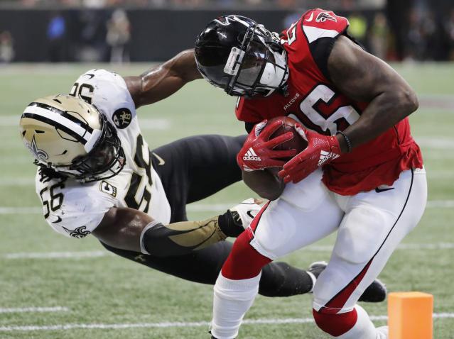 Tevin Coleman barely topped 10 fantasy points in the first matchup against the Saints. It's doubtful he repeats that level of success Week 12. (AP Photo/David Goldman)