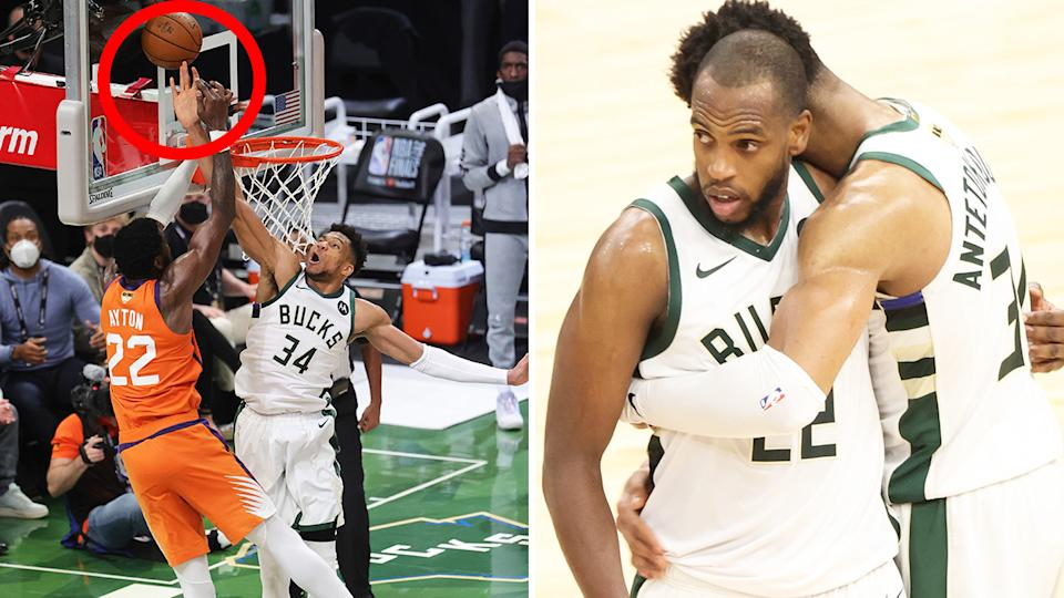 Giannis Antetokounmpo's block on DeAndre Ayton spurred the Milwaukee Bucks to a game four win in the NBA Finals.