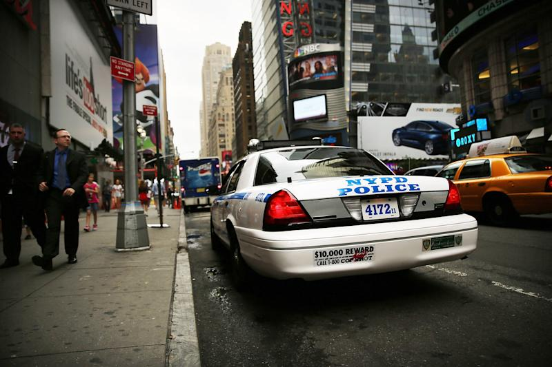 NEW YORK, NY - AUGUST 12: A New York Police Department (NYPD) car sits parked in Times Square on August 12, 2013 in New York City. The controversial policy employed by the NYPD in high crime neighborhoods known as stop and frisk has been given a severe rebuke by a federal judge on Monday. U.S. District Court Judge Shira Scheindlin has appointed an independent monitor to oversee changes to the NYPD's stop and frisk tactic's after finding that it intentionally discriminates based on race. Both New York City Mayor Michael Bloomberg and New York City Police Commissioner Raymond Kelly. (Photo by Spencer Platt/Getty Images)