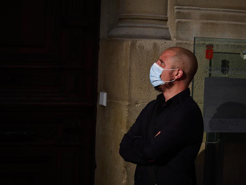 PAMPLONA, SPAIN - MAY 07: A man wearing a surgical mask to protect himself from the coronavirus during the 54th day of the alarm state in Pamplona on May 07, 2020 in Pamplona, Spain. (Photo by Eduardo Sanz/Europa Press via Getty Images)