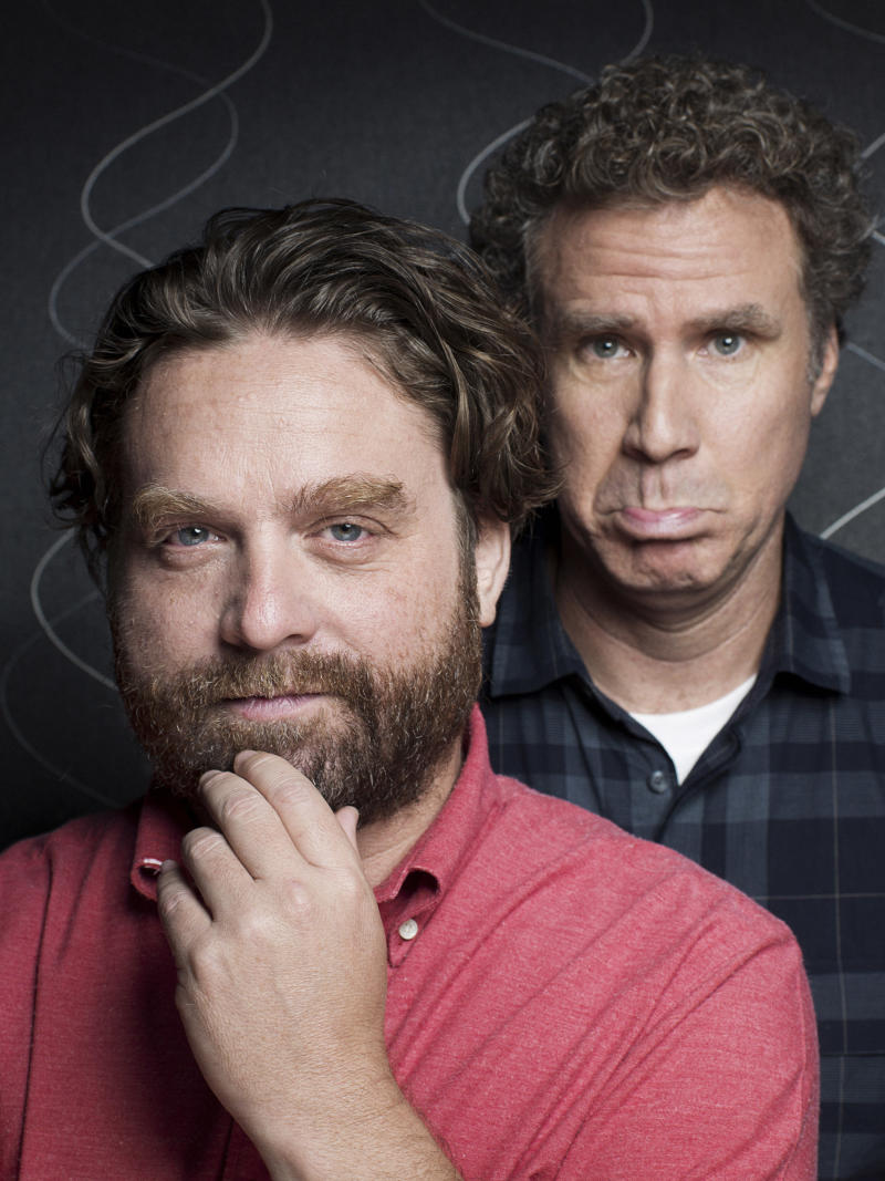 """This July 27, 2012 photo shows actors Zach Galifianakis, left, and Will Ferrell pose for a portrait in New York.  Ferrell and Galifianakis play two North Carolina politicians competing in an increasingly nasty Congressional race in the film """"The Campaign,"""" opening Aug. 10.  (Photo by Victoria Will//Invision/AP)"""